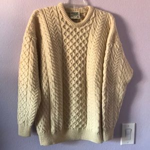Vintage cream hand knitted wool sweater